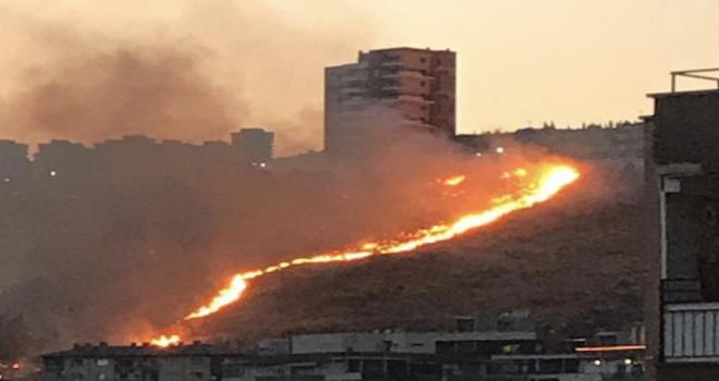 Örnekköy'de otluk alanda yangın çıktı