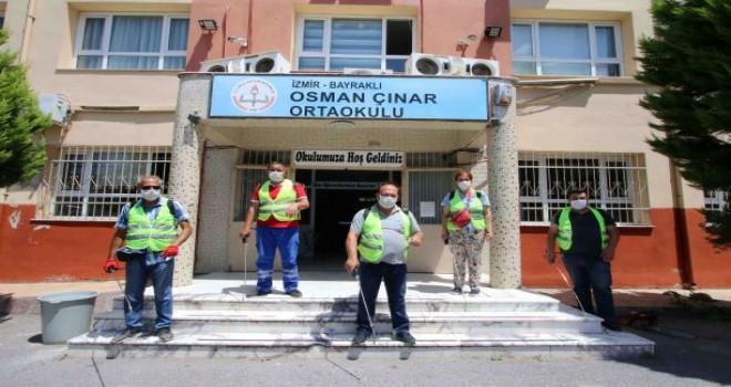 Bayraklı'da okullar sınav öncesi dezenfekte edildi