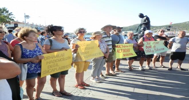 Foça'da Kaz Dağları ve doğa katliamlarına protesto