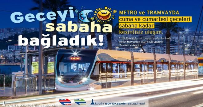 Metro ve tramvaylar Cuma-Cumartesi günleri 24 saat hizmet verecek